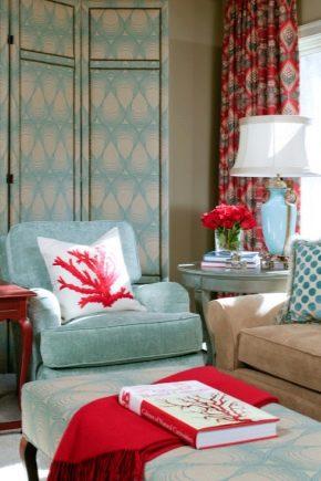 Sala de estar en colores turquesa: las normas de registro.