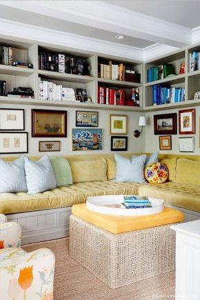 Cómo elegir un estante en la sala de estar: hermosos ejemplos en el interior