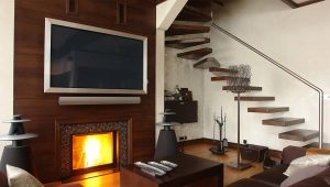 Fireplace in combination with a TV