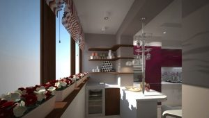 Kitchen on the loggia: ideas of unification