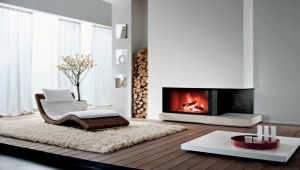 We select a fireplace depending on the size of the room