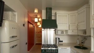 Reka bentuk kawasan dapur kecil 6 persegi. m dengan peti sejuk