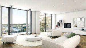Baltā viesistaba: skaistas interjera iespējas