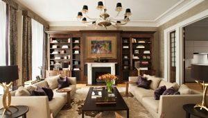 Dzīvojamās istabas interjers klasiskā stilā: krāsu un elementu apvienošanas principi