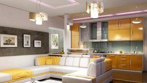 Virtuves-viesistabas interjers: stilīgs kombinētā numura dizains