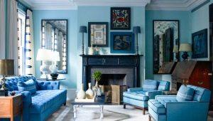 Características del diseño del salón en tonos azules.