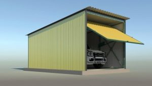 Features metal collapsible garage
