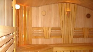 Features of the interior of the bath inside using clapboard