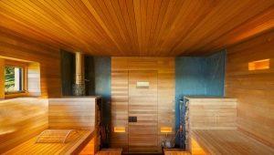 Finishing of a bath inside: arrangement of a sweating room, shower, restroom