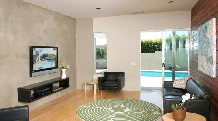 Diseño interior de la sala de estar: decorar una pared con un televisor.