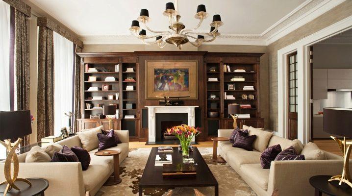 El interior de la sala de estar en un estilo clásico: los principios de combinar colores y elementos