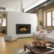 Stila risinājumi dzīvojamā istabā ar kamīnu