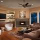 Dzīvojamā istaba ar kamīnu un TV