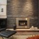 Facing the fireplace with decorative stone