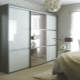 Wardrobe with a mirror in the bedroom