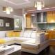 Cocina-sala interior: diseño elegante de la sala combinada.