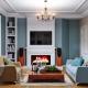 Características del diseño interior de una pequeña sala de estar.