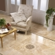Flīzes uz grīdas dzīvojamā istabā: skaisti piemēri interjerā