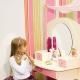 Meja rias kanak-kanak dengan cermin untuk kanak-kanak perempuan: ciri pilihan