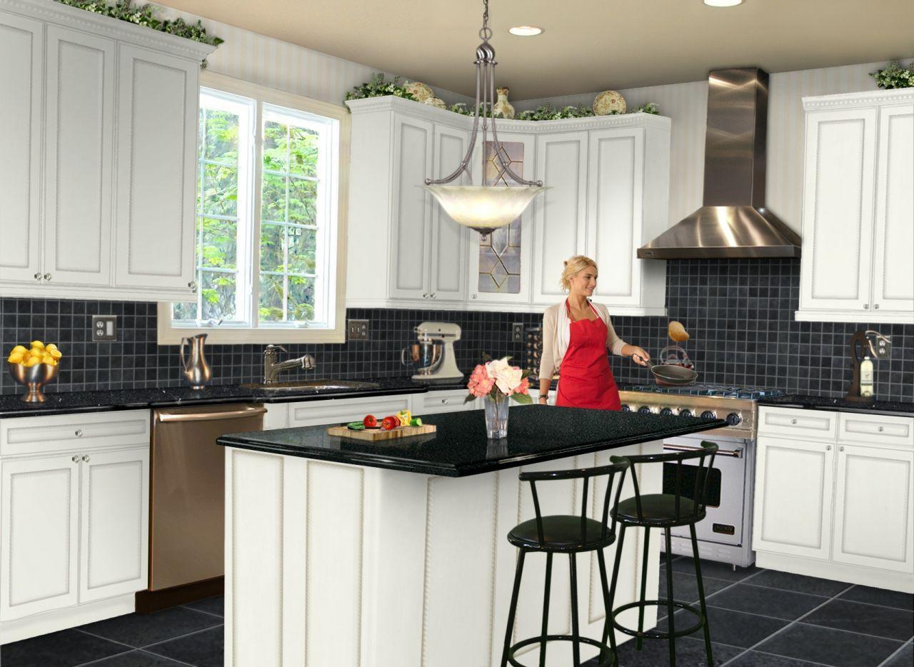 Dapur Dengan Lantai Gelap 60 Gambar Reka Bentuk Dalaman Untuk Dapur Putih Dan Ringan Dengan Lantai Hitam