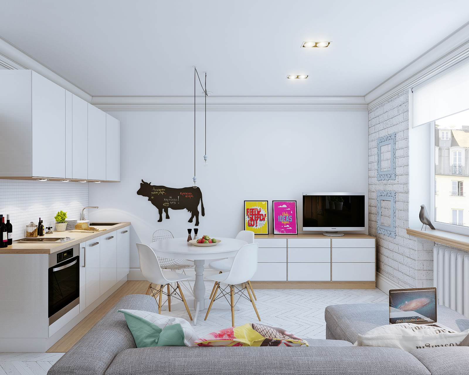 Kitchen living room design with an area of 20 square meters 20 ...