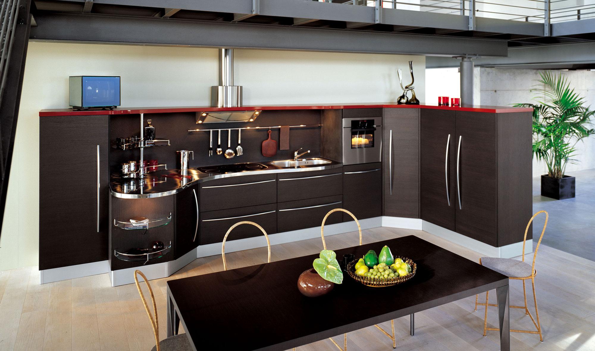 Küche ohne Oberschränke (61 Fotos): Küchenecke ohne Wandschränke