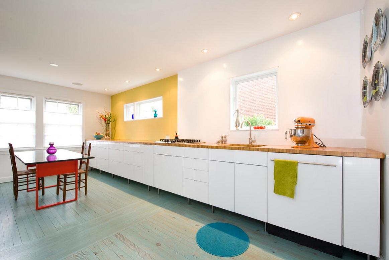 Küche ohne Oberschränke (67 Fotos): Küchenecke ohne Oberschränke