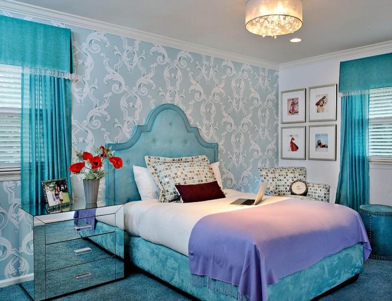 Behang Slaapkamer Blauw.Voor Blauw Behang Welke Gordijnen Passen 42 Foto S Hoe Kies