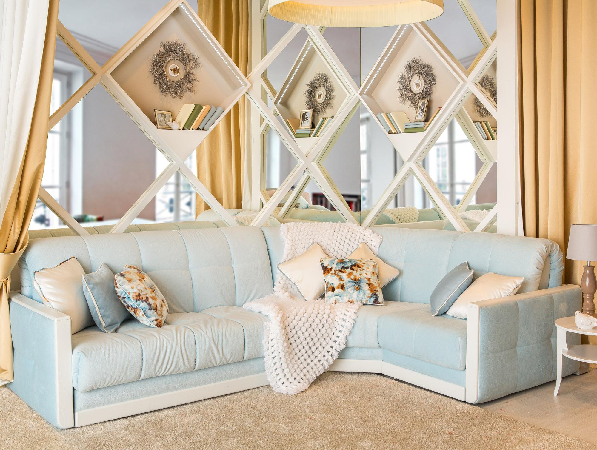 Eckmöbel für das Wohnzimmer (35 Fotos): weiche halbrunde ...